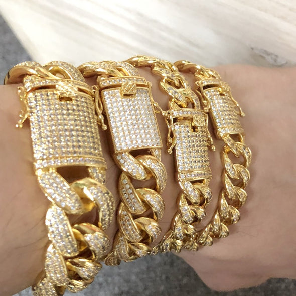 "Gold 12MM Miami Cuban CZ Bling Ice Lock Bracelet (7"")"