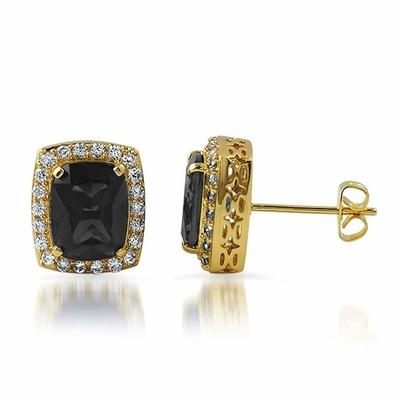 .925 Silver Gold Lab Black Diamond Gem Earrings