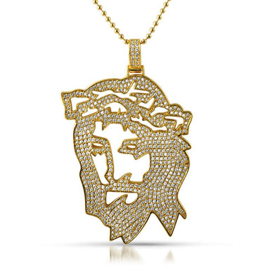 Jesus Cut Out Designer Gold CZ Pendant
