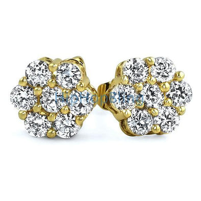 Big Cluster 3D Gold CZ Bling Bling Earrings