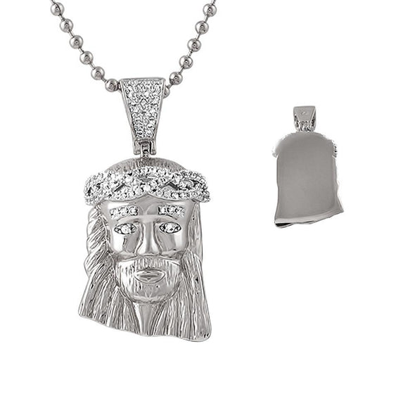 Detailed Rhodium Micro Jesus CZ Crown Pendant