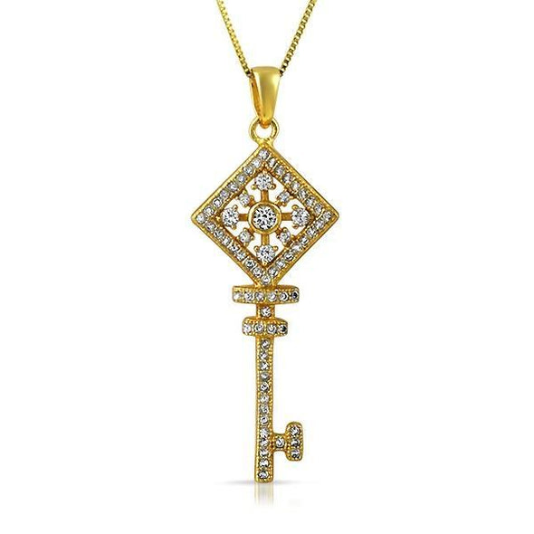 Key Square Wheel CZ Gold .925 Sterling Silver Pendant