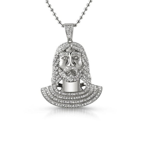 Jesus Bust CZ Micro Pave Rhodium Pendant (Free 36 Inch Bead Chain)