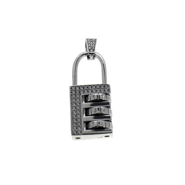 Combination Lock Pendant CZ .925 Silver