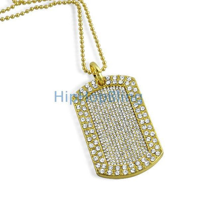 Totally iced Out Blizzard Gold Dog Tag & Chain