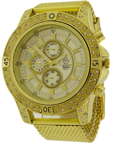 Bling Bling Gold Chrono Mesh Hip Hop Watch