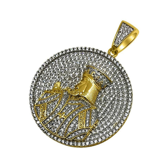 Gold King Profile Circle CZ Bling Bling Pendant (Free 36 Inch Bead Chain)