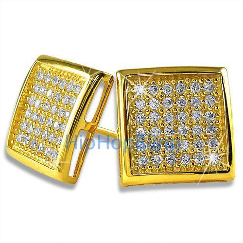 Large Deep Box Gold Vermeil CZ Micropave Earrings .925 Silver