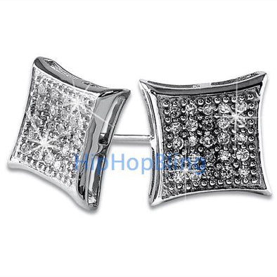 Kite Medium CZ Bling Bling Micro Pave Earrings .925 Silver