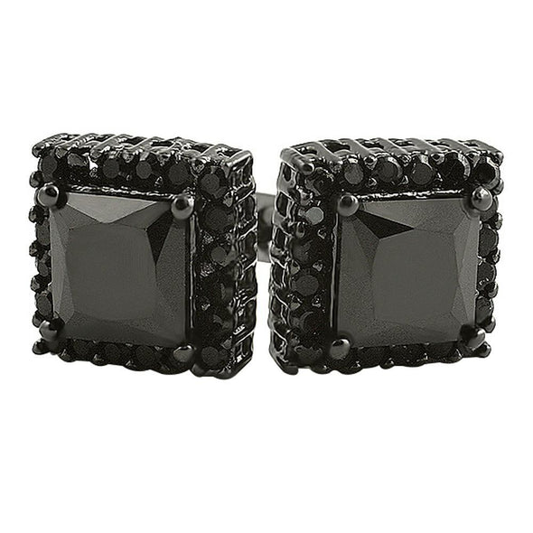 Black Princess Bling Border CZ Micro Pave Earrings