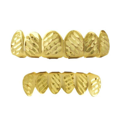 Gold Grillz Set Diagonal Diamond Cut