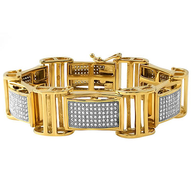 Gold Stainless Steel I Bars Iced Out Bracelet