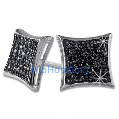Large Kite Black CZ Micro Pave Earrings .925 Silver
