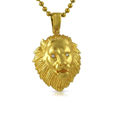 Gold Lion Head Pendant VS Diamond Eyes .925 Silver (Free 36 Inch Bead Chain)