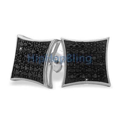 Large Puffed Kite Black CZ Micro Pave Earrings .925 Silver