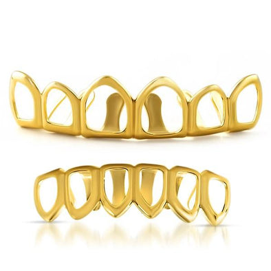 Gold Hip Hop Grillz 6 Teeth Outline Set