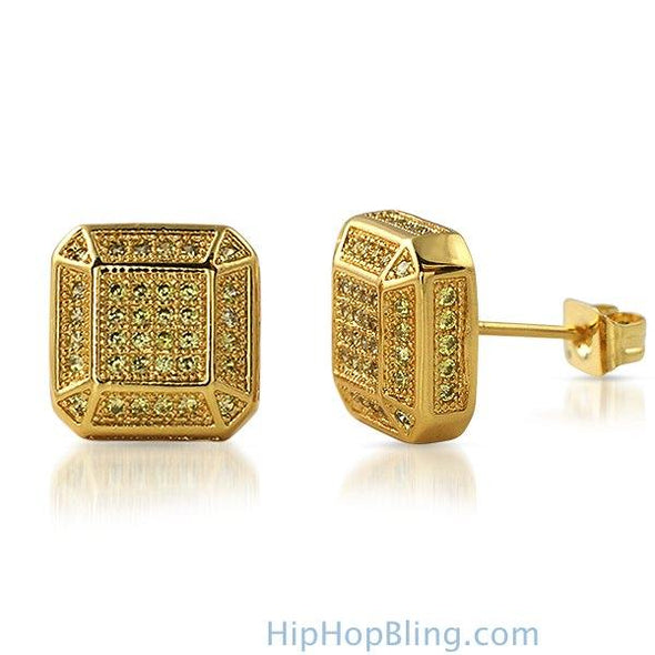 3D Smooth Box Lemonade CZ Micro Pave Bling Earrings