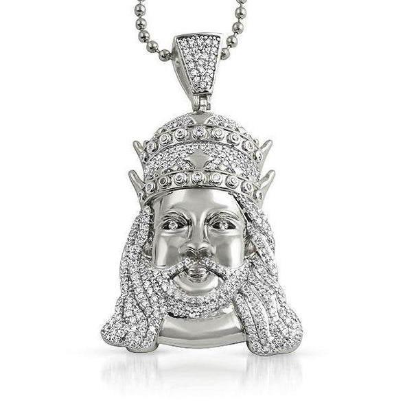 Double Crown Jesus CZ Bling Pendant