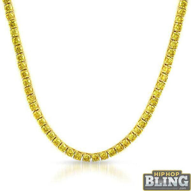 Canary Yellow 6MM CZ Gold Stainless Steel Tennis Chain