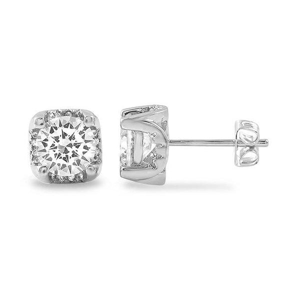 Micro Pave Setting Stud CZ Bling Bling Earrings