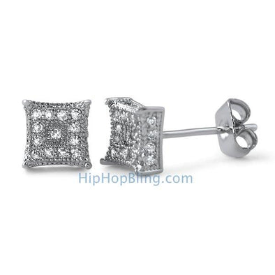 3D Box Kite S Micro Pave CZ Earrings