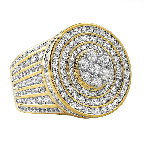 Gold .925 Silver Jumbo Cluster CZ Bling Ring