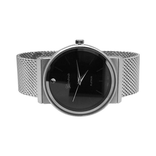 Smooth Round Silver Black Dial Mesh Band Watch