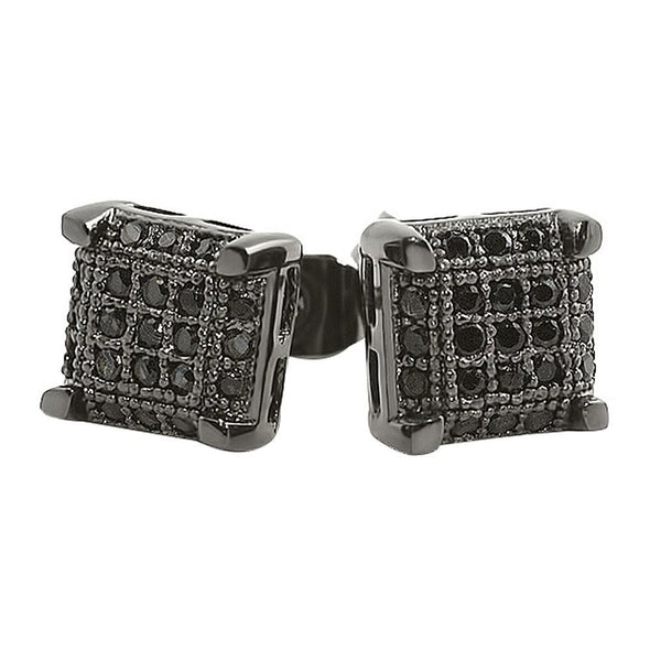 Black CZ Small Cube Micro Pave Earrings