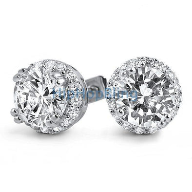 Iced Out Border Solitaire CZ Bling Bling Earrings