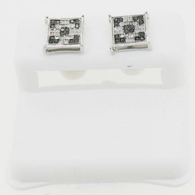 1/4 Carat Black & White Diamond Box Micro Pave Earrings .925 Silver