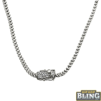 CZ Diamond Lock No Tarnish 2.5MM Franco Chain