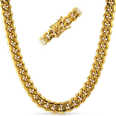 5cb9d372dc124 Miami Cuban 3X IP Gold Stainless Steel Chain 12MM -