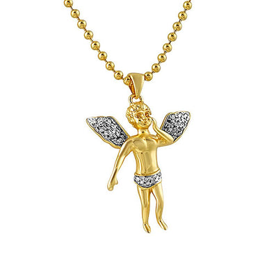 Diamond Micro Cherub Angel Gold .925 Silver Pendant