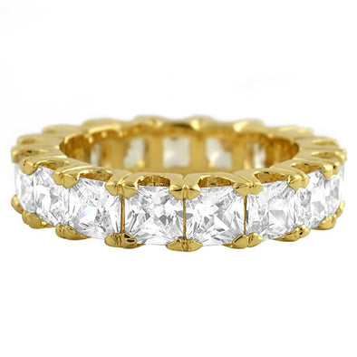 Princess Cut CZ Eternity Gold Bling Bling Ring