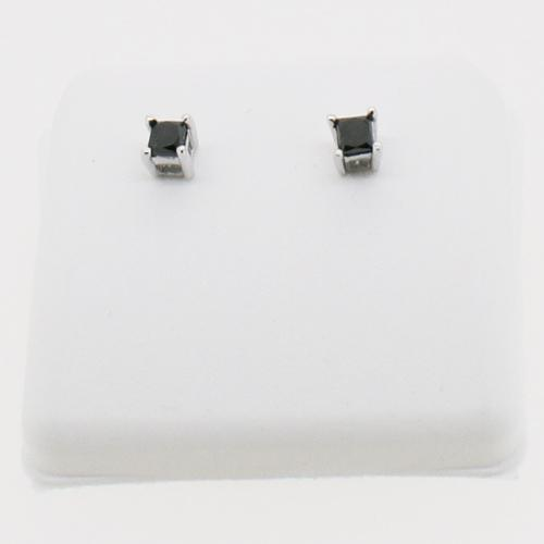 10K White Gold .50cttw Black Diamond Princess Cut Stud Earrings