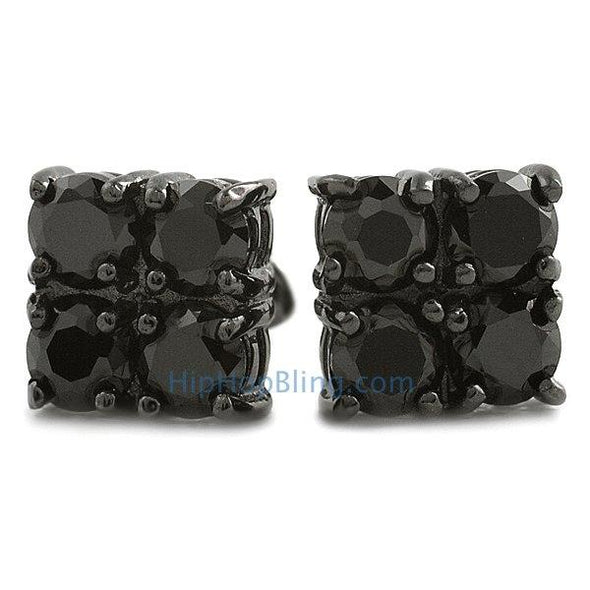 4 Stone Box Black CZ Diamond Bling Bling Earrings