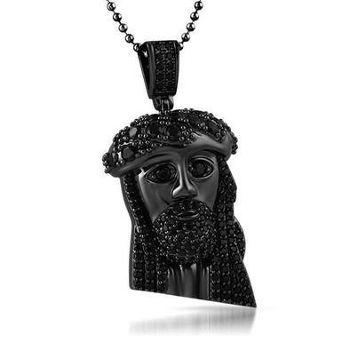 Black Jesus Mini Pendant Big Ice Crown