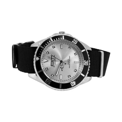 Genuine Diamond Divers Sport Watch Silver with Black Nylon Strap