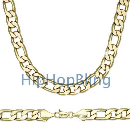 Figaro 12mm 24 Inch Gold Plated Hip Hop Chain Necklace