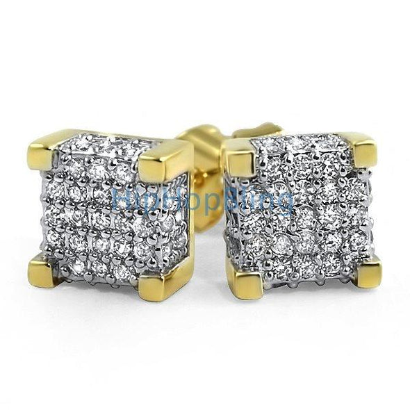 Custom 3D Cube Gold CZ Bling Bling Earrings