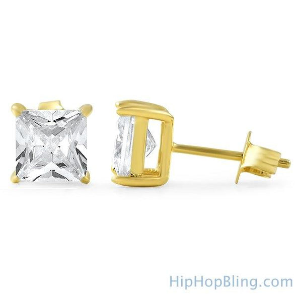 Princess Cut CZ Stud Earrings Gold .925 Silver