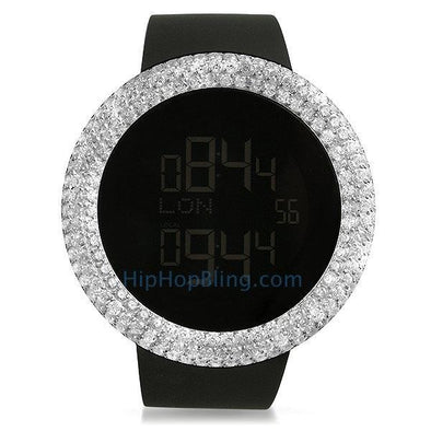 Digital Custom Rounded CZ Bezel Bling Bling Watch