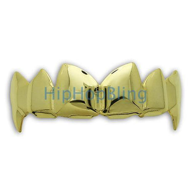 Custom Style Vampire Fangs Gold Hip Hop Teeth Grillz
