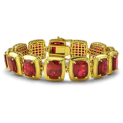 Lab Ruby CZ Clean Frame Gold Bracelet