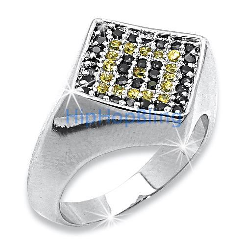 Diamond Classic Canary Black CZ Micro Pave .925 Sterling Silver Mens Ring #31yb