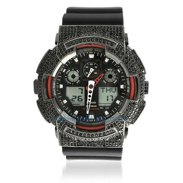 Custom Casio G Shock Watch GA100 Black CZ Red Trim