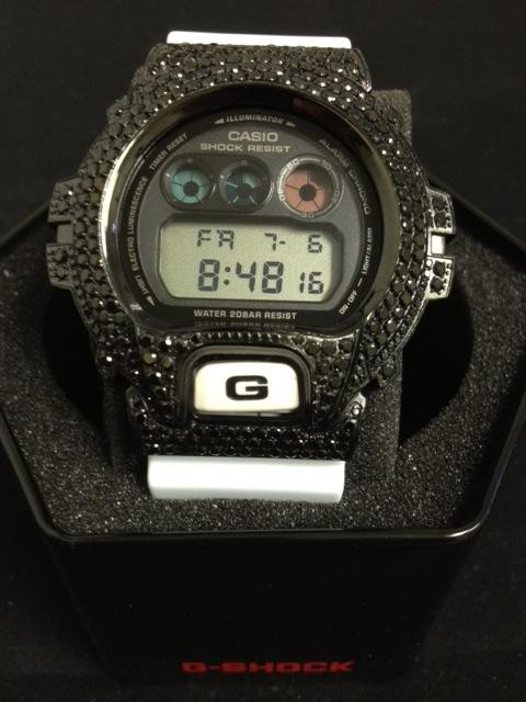 Black Bling Bling CZ G Shock White Watch DW6900