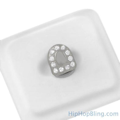 Single Tooth Cap Bling Border Grillz