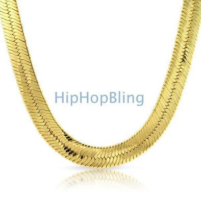 Gold Plated Herringbone Chain 14mm Wide