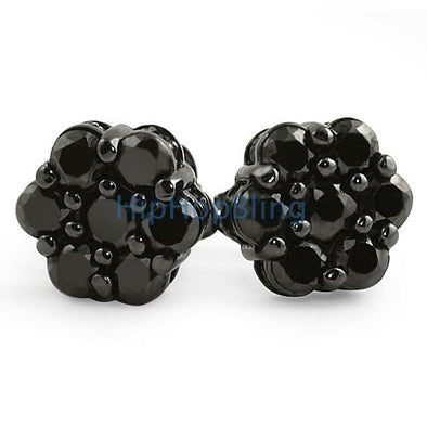 Big Cluster 3D Black CZ Bling Bling Earrings